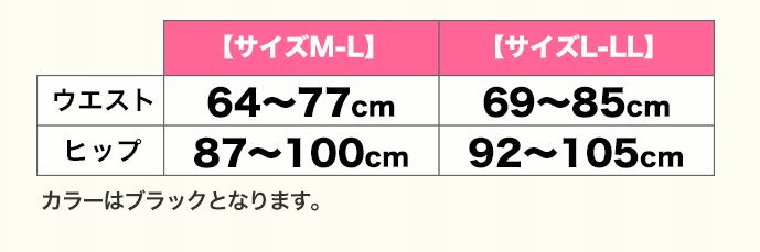 ヴィーナスカーブのサイズ表