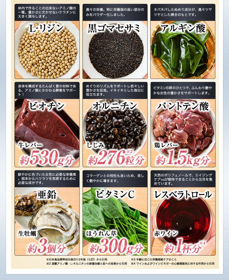 ブラックサプリには9種類の栄養